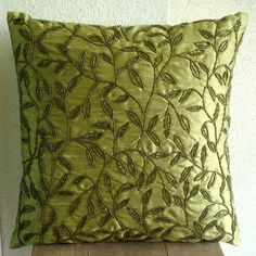 silk pillow cover with beaded design