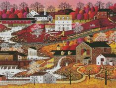 Charles Wysocki cross-stitch Waterfall Valley