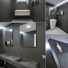 #Bathroom with #Coverlam Pirineos Antracita by #Grespania. #ceramics #tiles #dark #interiordesign #gray #bathroomdesign