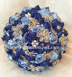 "Blue Bridal Brooch Bouquet - $450 Custom 10"" Royal Blue, Light Blue Jeweled Brides Bouquet. Accented with Silver brooches and gems and touches of gold added. THIS BOUQUET CAN BE CUSTOMIZED.. Custom ma"