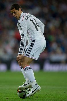 Javier Hernandez Chicharito of Real Madrid CF controls the ball during the La Liga match between Real Madrid CF and Elche CF at Estadio Santiago Bernabeu on September 23, 2014 in Madrid, Spain.