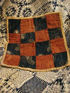 "Antique hand stitched calico dolls quilt circa 1800s, 8 1/2 x 8"", eBay, bgrboots"