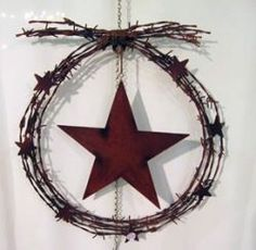 Barbed wire wreath with stars. Western Crafts, Rustic Crafts, Country Crafts, Primitive Crafts, Western Decor, Rustic Decor, Barbed Wire Decor, Barbed Wire Wreath, Twig Wreath