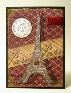 Artist Trading Card using @Darkroom Door Tour Eiffel Rubber Stamp Set. ATC by Whimsical Stamper, Happy Emilia.