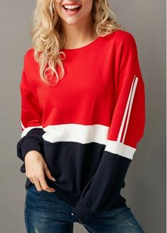 Color Block Long Sleeve Round Neck Sweatshirt | Rosewe.com - USD $32.13