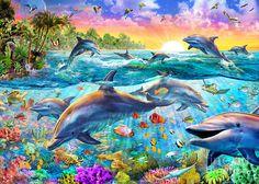 Tropical Dolphins Digital Art