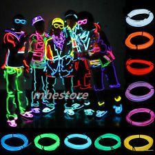 гибкая EL провода неоновый свет 1m/2m/3m / 5M танец Xmas вечеринки автомобильный декор + контроллер