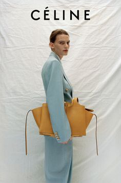 Ad Campaign: Céline Resort 2017 Model: Laura Morgan, Lena Hardt Photographer: Talia Chetrit - blue suit and yellow leather bag Fashion Shoot, Look Fashion, Editorial Fashion, Womens Fashion, Design Set, Vogue, Celine Campaign, Editorial Photography, Fashion Photography