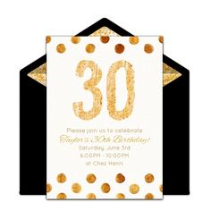 "One of our favorite free 30th birthday party invitations, ""Golden 30."" Easily personalize and send via email for a memorable milestone birthday party!"