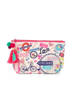 Our London make-up bag is printed with the capital's famous sights, and decorated with ditsy florals. This pretty piece is adorned with pom-poms and tassels on the zip, and also features a contrast lining.