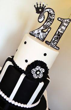 Black White Damask 21st Birthday Cake | Flickr - Photo Sharing!