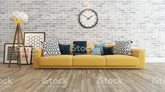 living room with big watch white brick wall royalty-free stock photo
