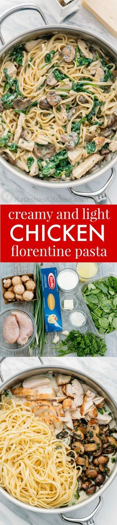 Chicken Florentine Pasta in a light creamy sauce. Easy 30-minute weeknight meal. Also, this chicken florentine pasta reheats beautifully - creamy as ever!