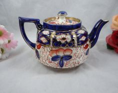 Rare 1930s Vintage Hand Painted Gaudy Japan Price Bros. English Bone China Tea Pot