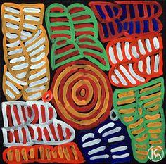 """""""Awelye & Bush Melon"""" by Betty Mbitjana 30cm x 30cm $240"""