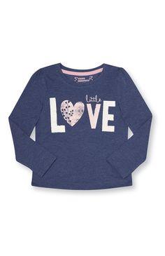 Primark - Blauw shirt met 'little love'-print