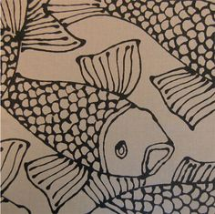 Ginza Fish Outdoor Fabric Really cute for cushions