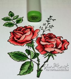 Coloring and shading flowers with Copics via Sharon Harnist. #Copic #Tutorial