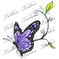 Butterfly Tattoo: Blue, purple, and green w/ black outline ...