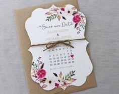 Kalender speichern Sie die Datum-Karte - Blumen Hochzeit sparen die Datum-Karte, moderne speichern Datum, Floral, Shabby Chic Hochzeit, Boho Blumen lädt