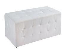 Puf rectangular color blanco. www.actuadecor.com