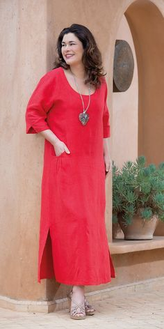 Kasbah red linen pocket dress at Box 2 Pinned by @Manaro Design  Jewelry | Beading | Bracelet | Necklace | Earrings
