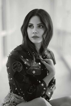 Lana in leather. Lana Del Rey looks stunning in studded leather jacket.