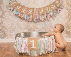 Shabby Chic 1st Birthday Cake Smash Clean Up Session, Jenny M Photography