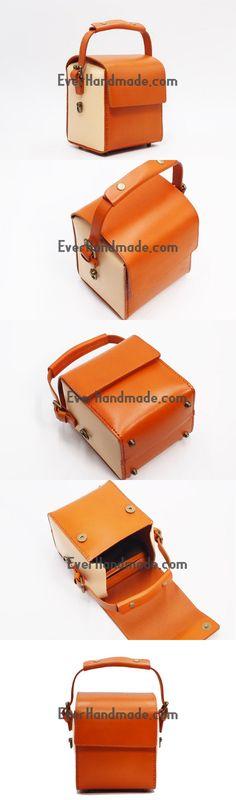 Handmade Leather Handbag Square Doctor Bag Purse Crossbody Shoulder Bag for Girl Women Lady