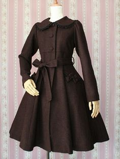 victorian coat | Victorian Maiden Elegant Coat with Hood Cape (Front; chocolate without ...