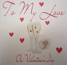 white cotton cards To My Love on Valentine's Day Handmade Valentine's Card with Champagne Glasses - http://www.css-tips.com/product/white-cotton-cards-to-my-love-on-valentines-day-handmade-valentines-card-with-champagne-glasses/ #affiliate