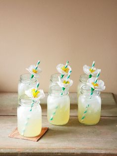 Delicate blossoms made of crepe paper will make that summer sipper taste even sweeter.