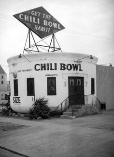 ca. 1937. One of the six Chili Bowl restaurants, located at 801 N. La Brea Avenue (Photo: Herman Schultheis). Four Chili Bowl structures survived. The GuHuntington Park, Long Beach that is now the Guadalajara Nightclub, another became Kim Chuy Chinese restaurant on Valley Boulevard in Alhambra, the one on Pico Boulevard (that remained open 24 hours during the war effort for nearby workers), is now Mr. Cecil's California Ribs, and the one on San Fernando Road in Glendale is a used-car…