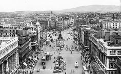 """""""View across Dublin from Nelson's Pillar, O'Connell St. Was sixpence to climb the stairs Dublin Street, Dublin City, Old Street, Old Pictures, Old Photos, Images Of Ireland, American Bandstand, Ireland Homes, Dublin Ireland"""