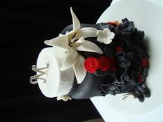 Black, White and Silver Birthday Cake