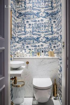 Cheap Home Decor blue and white powder bath.Cheap Home Decor blue and white powder bath Guest Bathroom, Bathroom Interior, House Interior, Bathroom Decor, Cheap Home Decor, Chinese Wallpaper, Bathroom Design, Beautiful Bathrooms, Blue And White Wallpaper
