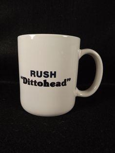 Dittohead Rush Limbaugh Coffee Tea Mug Cup KGMI Radio Station Give Away Prize #RushLimbaugh #whitewithlogo