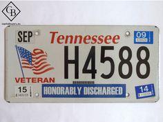 Placa - Matrícula metálica original de USA - Tennessee - Veteran