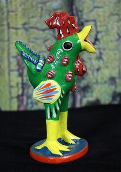 Green Rooster Tonala Pottery Mexican folk Art Cerámica Fantástica Betus Farm #Ortega