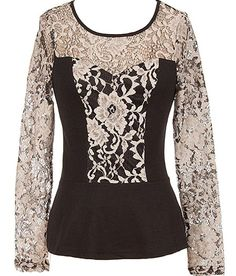Italian Lace Top: Features a contrast floral lace bib and sleeves, illusion sweetheart neckline, beautiful black base layer, and a slightly flared hem to finish.