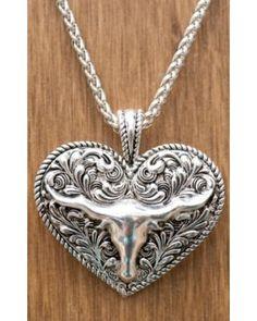Long horn heart necklace