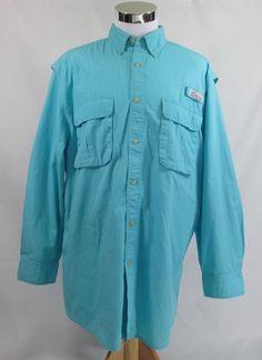 WORLD WIDE SPORTSMAN Men's Long Sleeve Vented Fishing,Hiking Shirt Sz L Blue   #WorldWideSportsman #ButtonFrontShirt