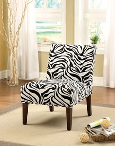 Acme 59152 Aberly ii zebra print with tapered legs fabric upholstered accent side chair