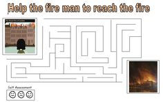A simple maze for children to complete during a topic on the Great Fire of London. Primary History, Teaching History, Teaching Resources, Great Fire Of London, The Great Fire, Self Assessment, Bright Lights, Maze, Classroom Ideas