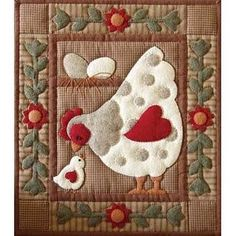 This quilt kit contains all the pieces to create this adorable hen and chick wall quilt. This package contains all fabric required to complete quilt, pattern and illustrated instructions, batting, but Wool Applique, Applique Patterns, Applique Quilts, Quilt Patterns, Quilting Projects, Quilting Designs, Sewing Projects, Embroidery Designs, Mini Quilts