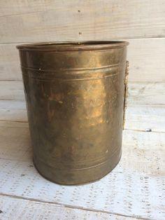 Brass Wastebasket Metal Wastebasket Bathroom by BostonInventory