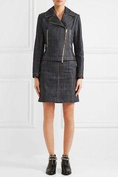 Alaïa - Lace-up Fluted Denim Mini Skirt - Dark denim - FR38