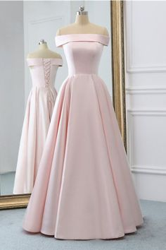 Pink Satin Long Evening Dress With Pockets, Pink Prom Gowns - 2020 New Prom Dresses Fashion - Fashion Of The Year Pretty Prom Dresses, A Line Prom Dresses, Homecoming Dresses, Cute Dresses, Pink Dresses, Simple Prom Dress, Short Pink Prom Dresses, Formal Prom Dresses, Long Dress Formal
