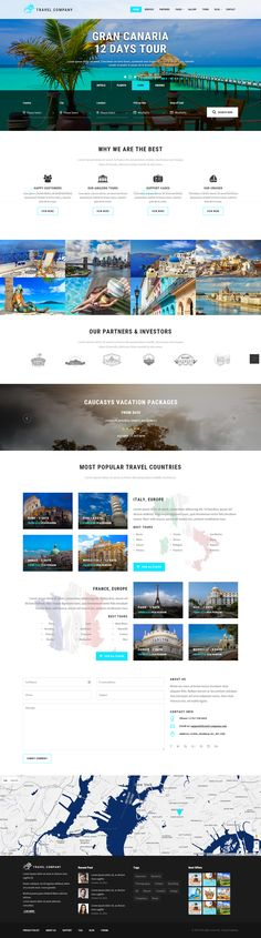 Travel Company Responsive Parallax Template on Behance Ui Design, Layout Design, Web Design Company, Web Layout, Travel Website Design, Travel Design, Web Hotel, Beautiful Website Design, Photoshop