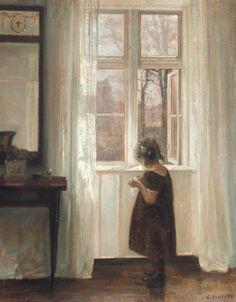 Inge by the Window - Carl Vilhelm Holsøe 1911 Danish 1863-1935 Oil on canvas , 55.3 x 43.5cm., 21 ¾ x 17 ¼ in.